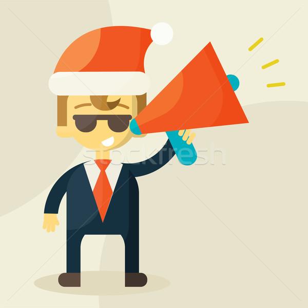 Jonge zakenman megafoon christmas hoed business Stockfoto © sabelskaya