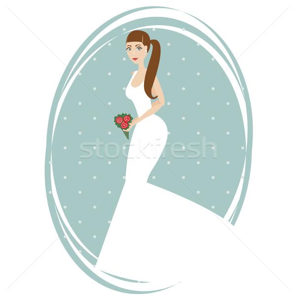 Mooie bruid boeket Blauw bruiloft liefde Stockfoto © sabelskaya