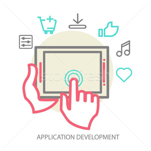 Vetor móvel aplicativo desenvolvimento linha ilustração Foto stock © sabelskaya