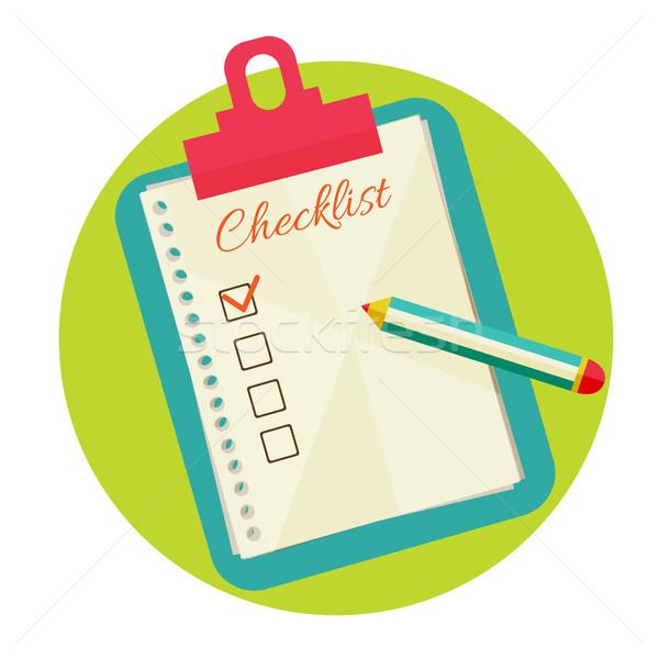 Comprobar lista eps 10 papel lápiz Foto stock © sabelskaya