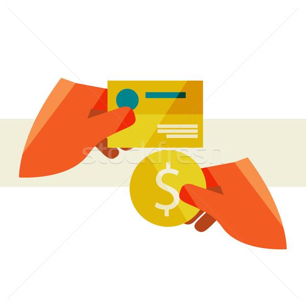 Mão cartão de visita moeda compra projeto Foto stock © sabelskaya