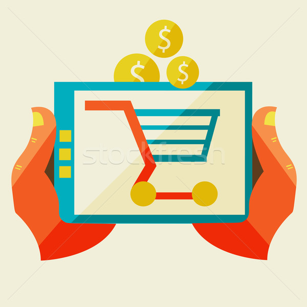 Elektronische commerce winkelen ontwerp illustratie Stockfoto © sabelskaya