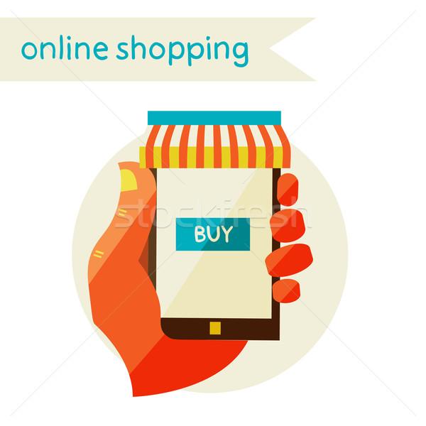 Online winkelen verkoop ontwerp moderne illustratie Stockfoto © sabelskaya