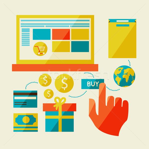 Eコマース シンボル インターネットショッピング 要素 オブジェクト デザイン ストックフォト © sabelskaya