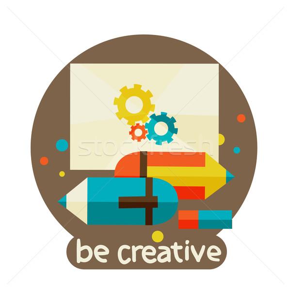 Creativa colorido lápiz moderna plantilla de diseño reunión Foto stock © sabelskaya