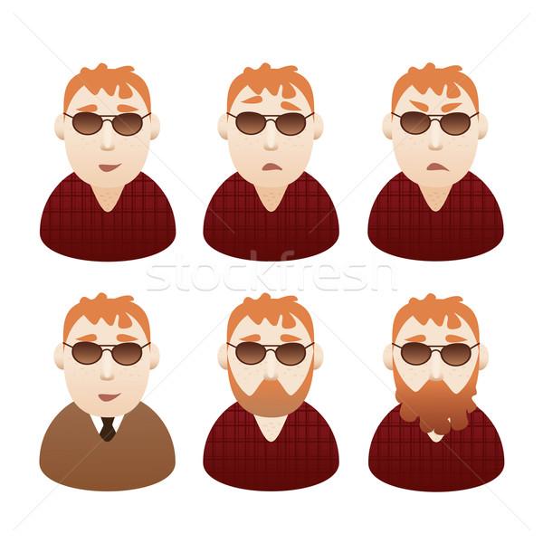 Stockfoto: Ingesteld · Rood · kantoor · gezicht · haren · zakenman