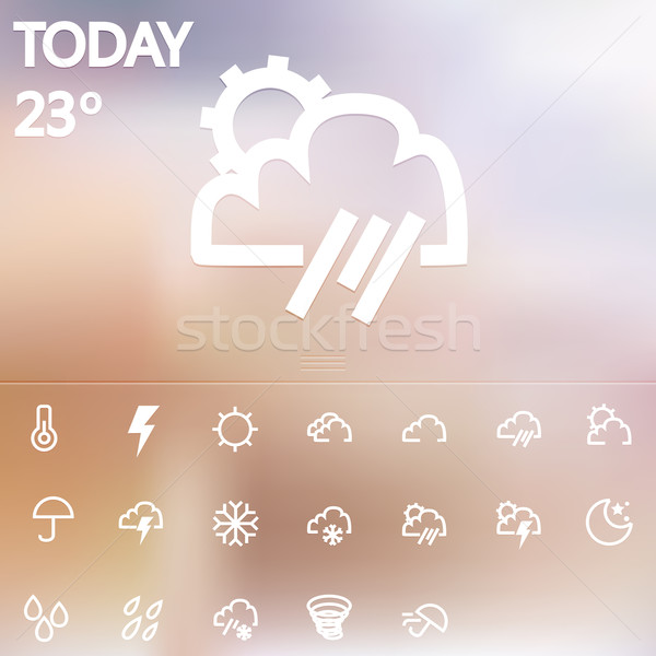 Hava durumu web simgeleri ayarlamak güneş dizayn kar Stok fotoğraf © sabelskaya