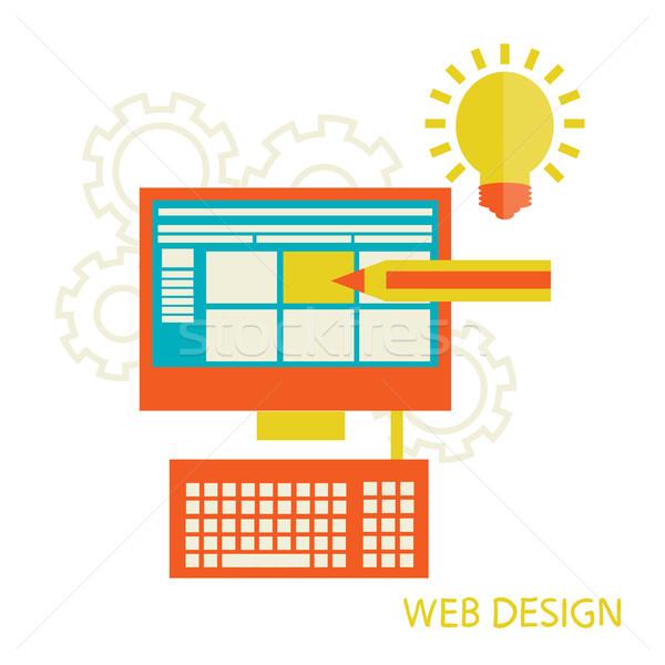 Web design terv asztali website design fejlesztés folyamat Stock fotó © sabelskaya