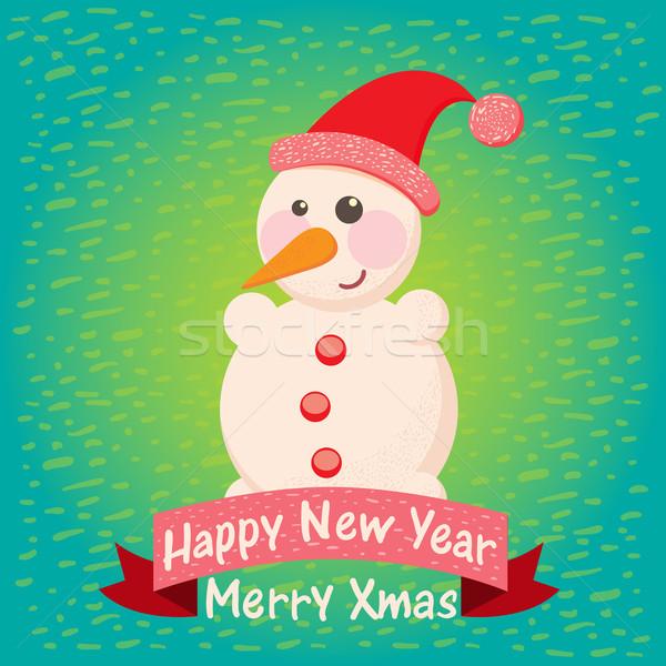 Karácsony üdvözlőlap hóember terv művészet piros Stock fotó © sabelskaya