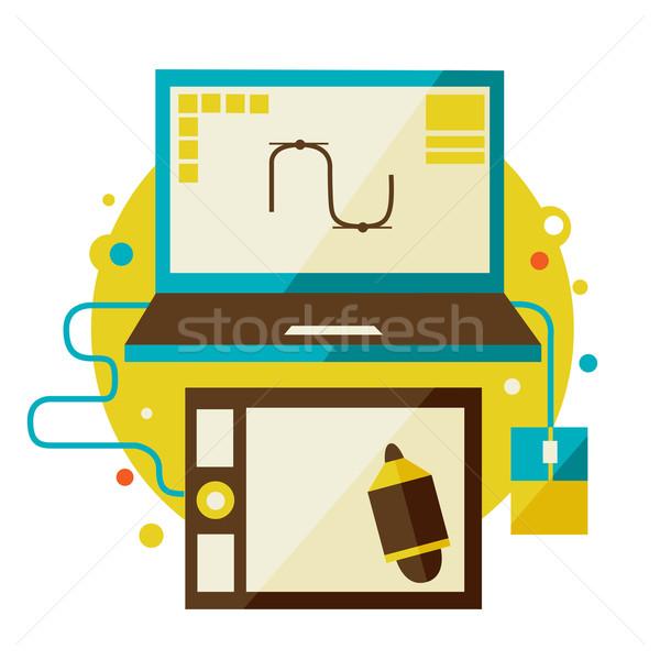 Digitale ontwerp modieus iconen creatieve Stockfoto © sabelskaya