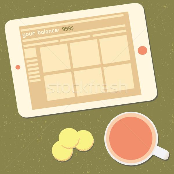 Freelance geld einde evenwicht scherm Stockfoto © sabelskaya