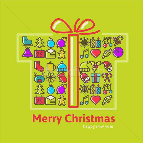 Natal caixas de presente ícone caixa dom cartão Foto stock © sabelskaya