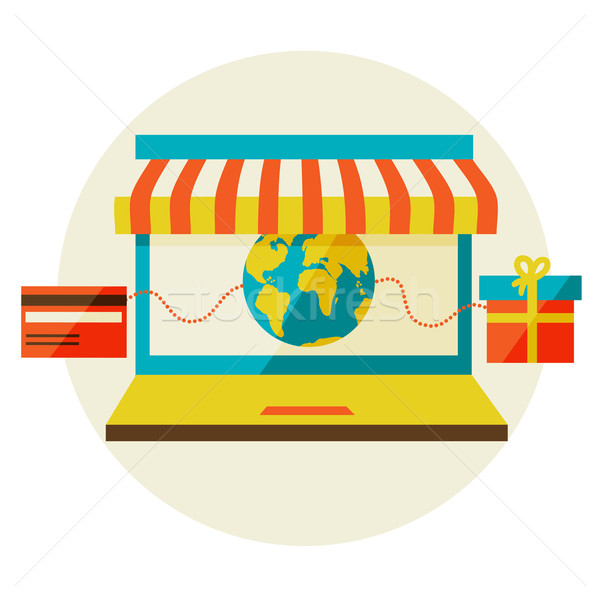 online shopping. Sale, Laptop and smart phone with awning. Stock photo © sabelskaya