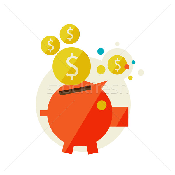 Piggy Bank дизайна современных цветами бизнеса Сток-фото © sabelskaya