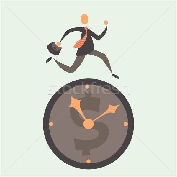 Tempo é dinheiro empresário tempo negócio homem trabalhar Foto stock © sabelskaya
