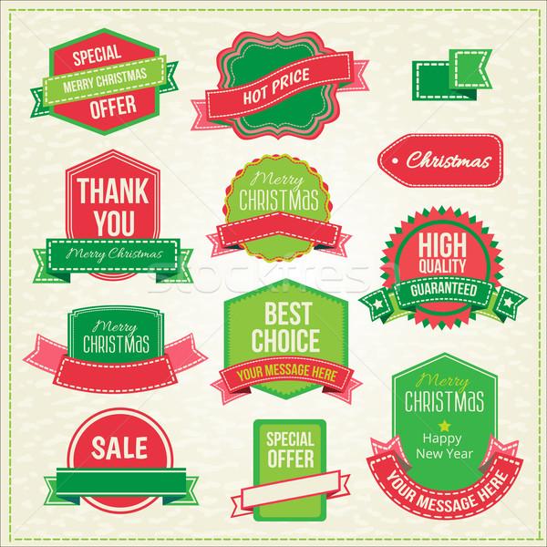Toplama Noel süsler dekoratif elemanları etiketler Stok fotoğraf © sabelskaya