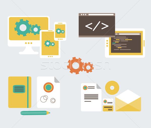 Flat design of business branding and development web page Stock photo © sabelskaya
