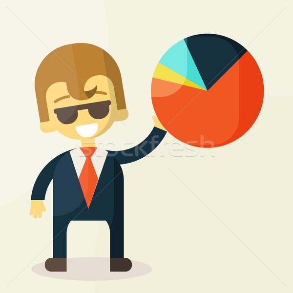 Mosolyog üzletemberek jó statisztika üzlet iroda Stock fotó © sabelskaya