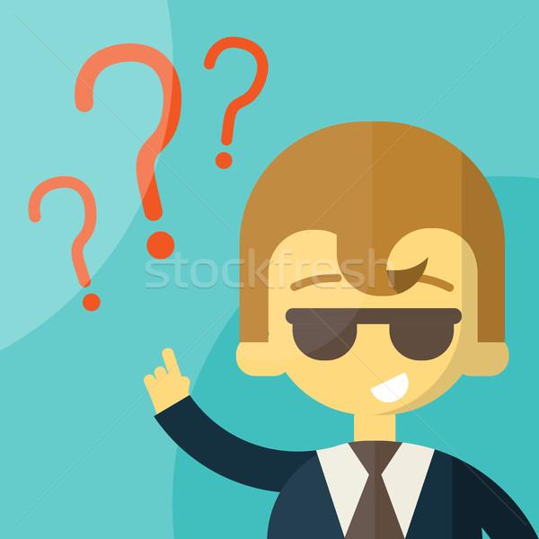 üzletember kérdőjel fej döntésképtelenség eps10 vektor Stock fotó © sabelskaya