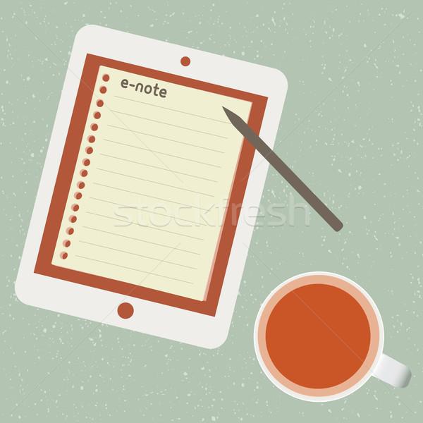 Csésze tea táblagép papír képernyő levél Stock fotó © sabelskaya
