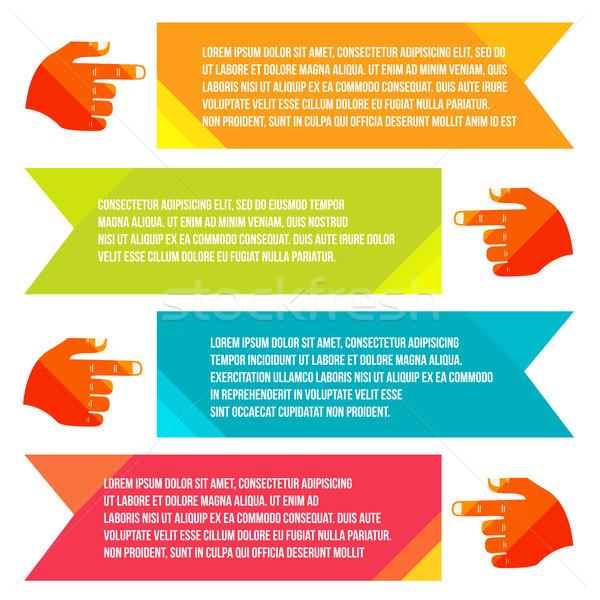 Banners informação indicação mão vetor estilo Foto stock © sabelskaya