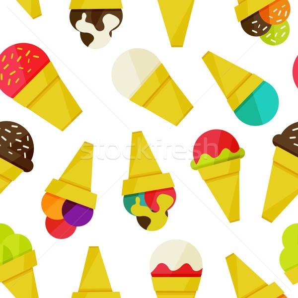 Sem costura sorvete fruto fundo verão Foto stock © sabelskaya