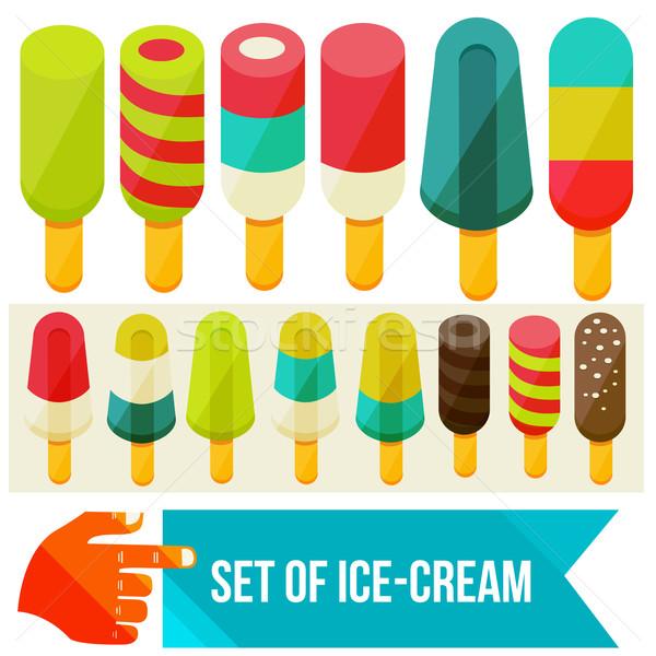 Foto stock: Sorvete · conjunto · comida · chocolate · gelo · compras