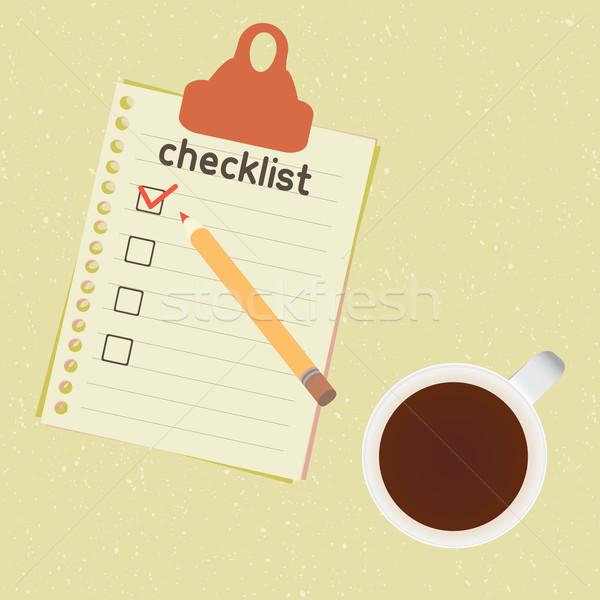 Lista copo café lista necessário papel Foto stock © sabelskaya