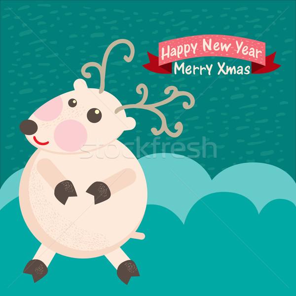 Navidad tarjeta de felicitación ciervos fiesta diseno diversión Foto stock © sabelskaya