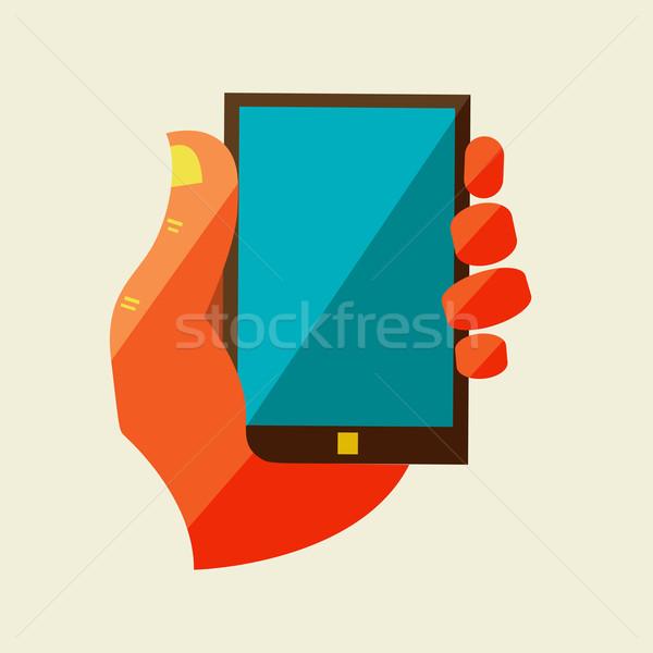 Hombre mano pantalla táctil teléfono móvil Foto stock © sabelskaya