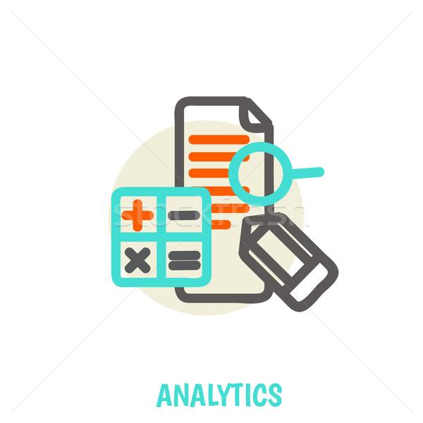 Flat line icons of analytics vector illustration concept. Stock photo © sabelskaya