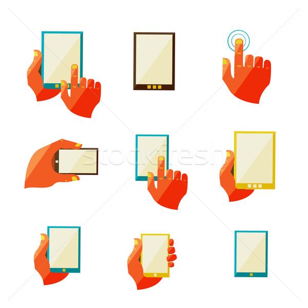 мобильных связи иконки прибыль на акцию 10 компьютер Сток-фото © sabelskaya
