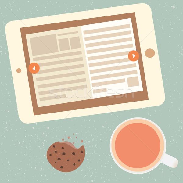 Ebook beker thee krant scherm Stockfoto © sabelskaya