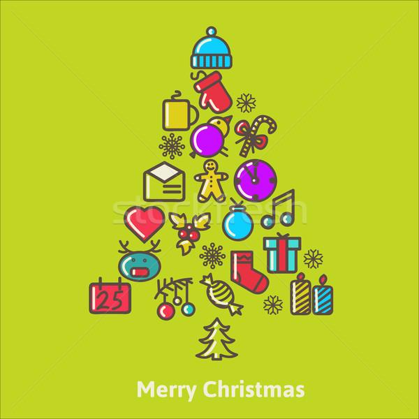 Noel ağacı noel simgeler elemanları bulanık kar taneleri Stok fotoğraf © sabelskaya