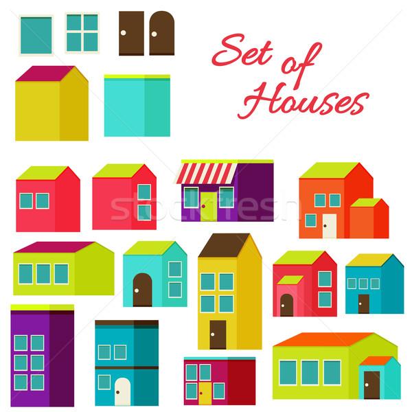 Ingesteld huizen ontwerp moderne illustratie stijlvol Stockfoto © sabelskaya