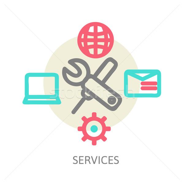 Linha projeto ícones teia serviços aplicativos Foto stock © sabelskaya