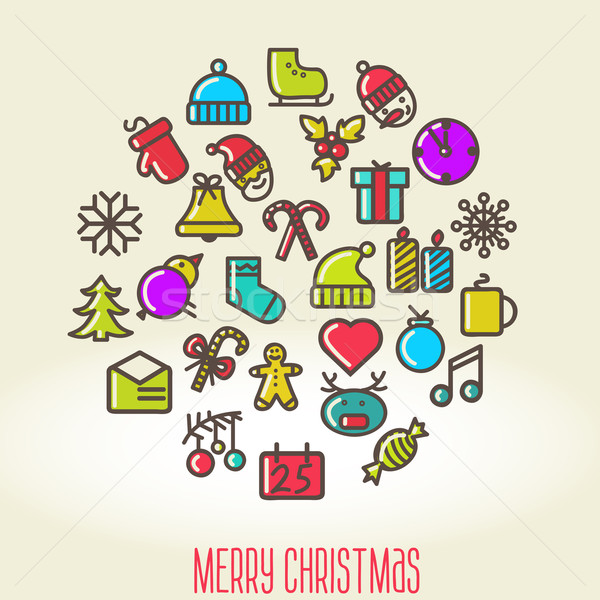 Navidad establecer iconos árbol ninos arte Foto stock © sabelskaya