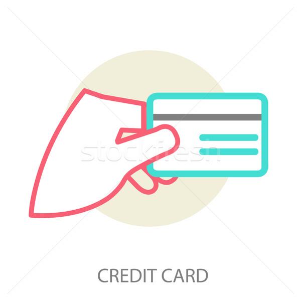 Hand creditcard vector moderne lijn Stockfoto © sabelskaya