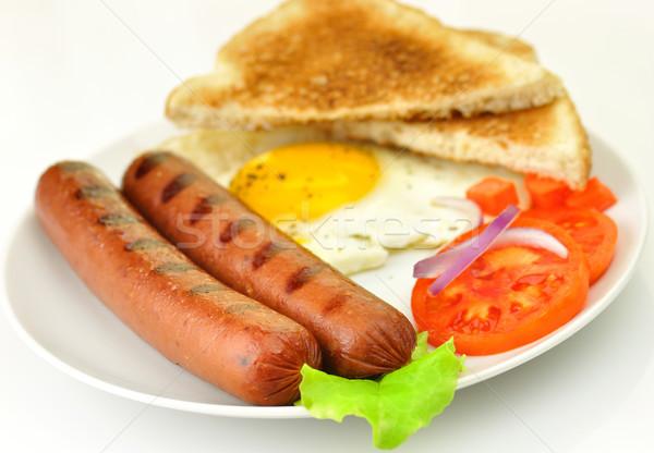 grilled polish sausages with egg and vegetables  Stock photo © saddako2