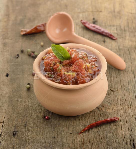 Házi készítésű salsa friss edény étel fa Stock fotó © saddako2