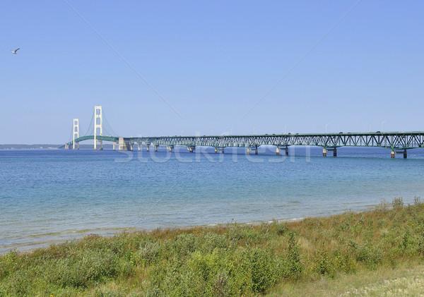 Lago shore ponte spiaggia blu viaggio Foto d'archivio © saddako2