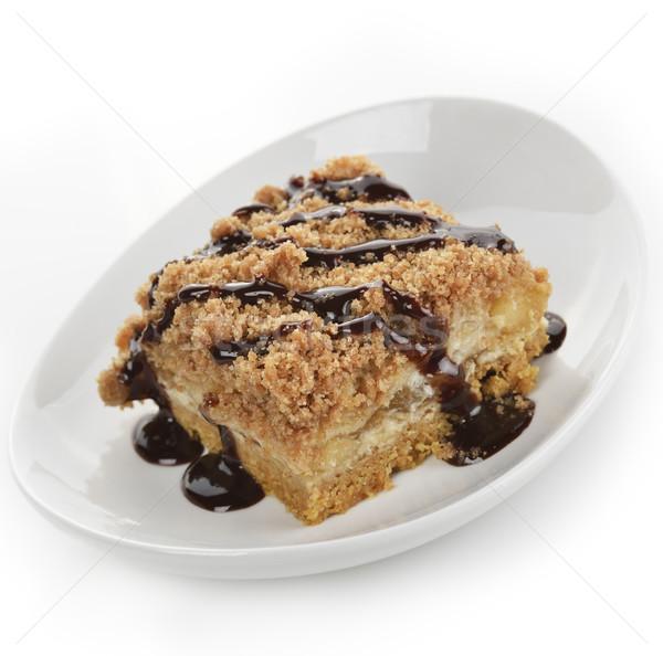 Appeltaart karamel siroop witte plaat vork Stockfoto © saddako2