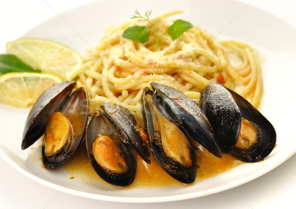mussels with spaghetti  Stock photo © saddako2
