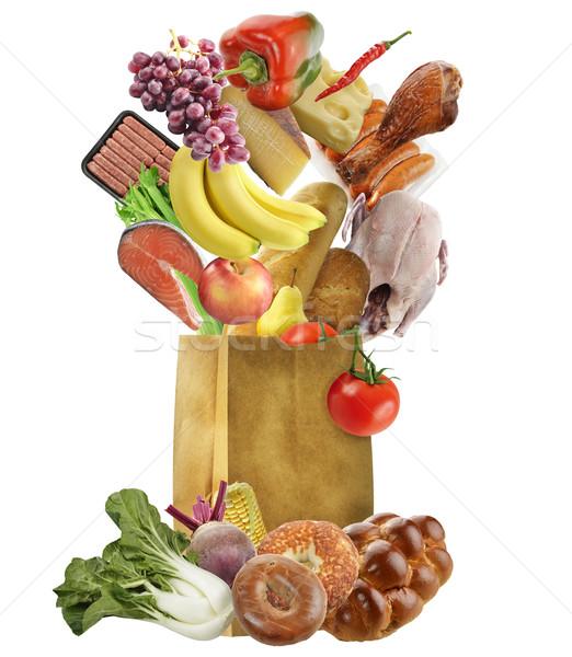 紙袋 食品 孤立した 白 フルーツ 鶏 ストックフォト © saddako2