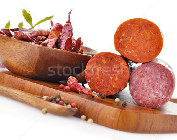 Peperoni salami specerijen voedsel oranje Stockfoto © saddako2