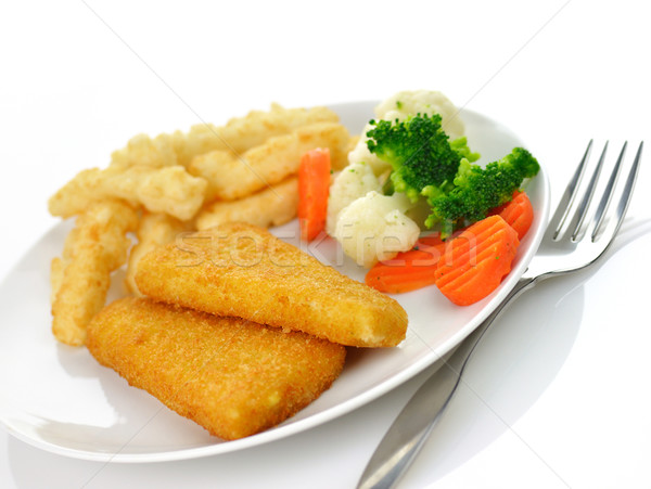 fish fillets with fried potato and vegetables Stock photo © saddako2