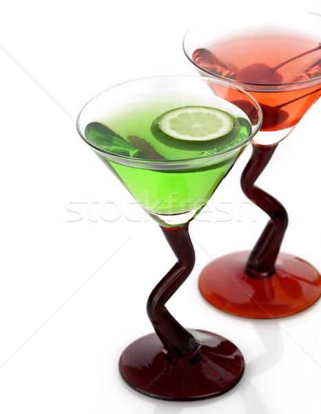 Cocktails bril cocktail dranken witte glas Stockfoto © saddako2