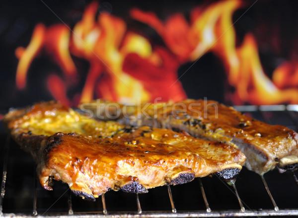 Domuz eti ızgara yangın duman et Stok fotoğraf © saddako2