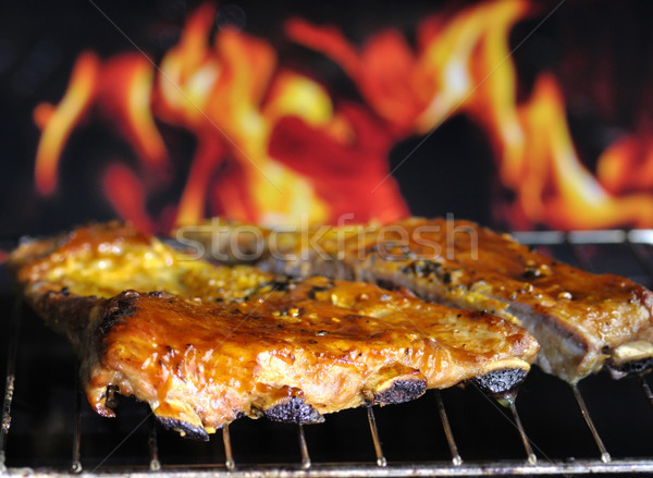Varkensvlees grill brand rook vlees Stockfoto © saddako2