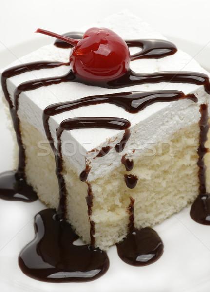 Foto d'archivio: Torta · fetta · sciroppo · ciliegio · alimentare